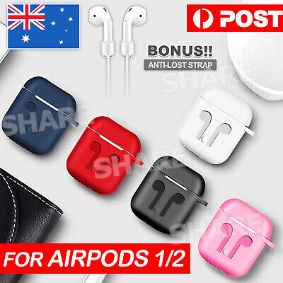 AU4.95 • Buy Silicon Case Cover For Airpods 1 2 Case Cover Skin Anti Lost Strap Shockproof