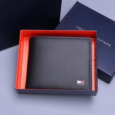 MENS TOMMY HILFIGER GENUINE LEATHER BILLFOLD WALLET BLACK Coin Compartment • 27.16£