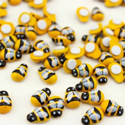 100pcs Mini 9x12mm Bees Self Adhesive Wooden Bumble Bee Craft Card Wood Toppers • 2.49£