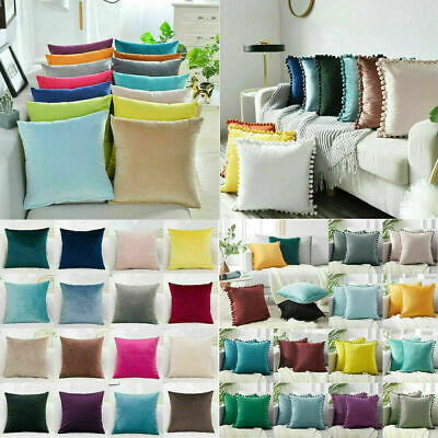 Velvet Plain Cushion Covers Pillow Cases Home Sofa Decor 16  18  20  22  24  UK • 5.69£