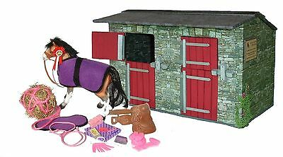 Wooden Model Toy Stables With Pony And Accessories 1/12th Scale • 27.50£
