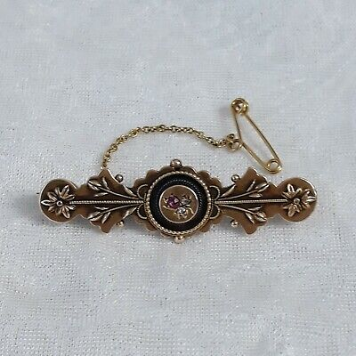 Antique Victorian GOLD, DIAMONDS And RUBY Barrette Brooch • 10.50£