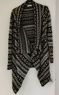 Orsay Aztec Navajo Waterfall Cardigan Size S Knee Length Grey Thick Knit • 8£