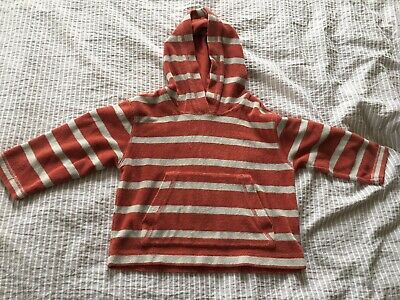 Mini Boden Towelling Hoodie / Pop Over/ Cover Up, Red Stripe Age 2-3 • 2.90£