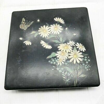 Antique Art Deco Hand Painted Lacquerware Butterfly Jewellery Lidded Trinket Box • 39.99£