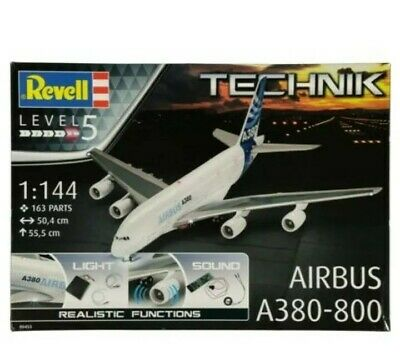 REVELL TECHNIK AIRBUS A380-800 Model Jumbo Jet With Light & Sound 1:144 Scale. • 112.99£