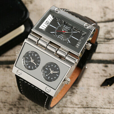 $ CDN17.29 • Buy OULM Three Time Zone Movement Leather Band Strap Men Military Wrist Watch Gifts