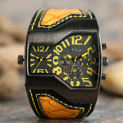 $ CDN15.90 • Buy OULM Irregular Two Time Zones Blue/Yellow Leather Strap Men Military Wrist Watch