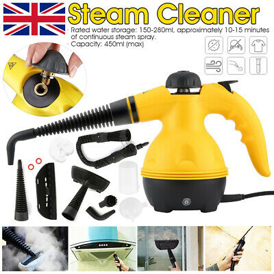 Yellow Steam Cleaner Hand Held Steamer Kitchen Bathroom Tile Universal Cleaning • 21.99£