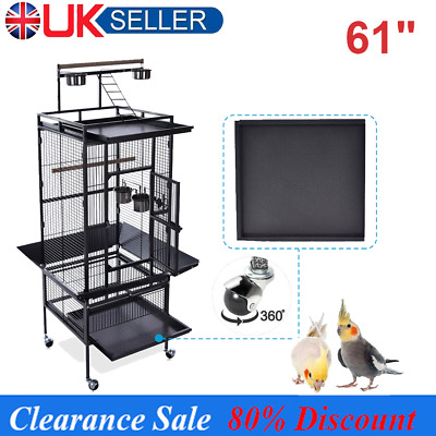 61  Parrot Bird Cage Play Top Finch Chinchilla Cockatiel Conure Parakeet W Stand • 92.99£