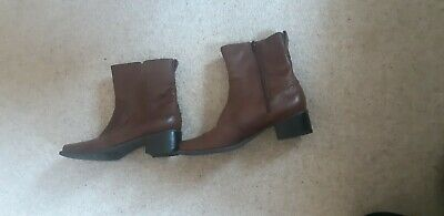 Ladies Footglove Tan Leather Ankle Boots Size 4 • 6.55£