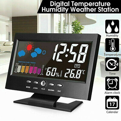 Projection LED Digital Alarm Clock Snooze Calendar Thermometer Weather Display • 0.99£