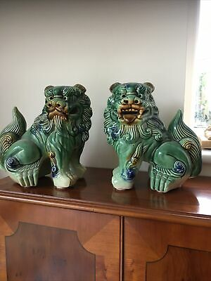 Pair Of Vintage Chinese Green Glazed Lion Foo Dog Statue Ornaments  • 15£
