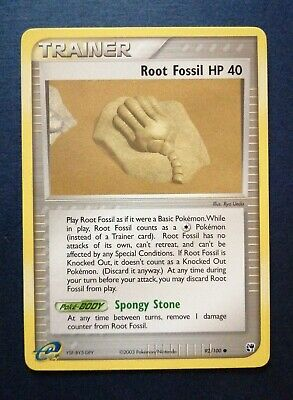 Pokemon Root Fossil 92/100 EX Sandstorm Card 2003 NM /M • 0.99£