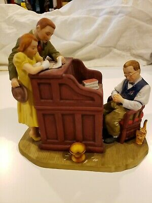 $ CDN32.37 • Buy Norman Rockwell Figurine Sat Eve Post Cover  The Marriage License  1955 Gorham