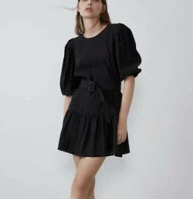 AU33.07 • Buy Zara Belted Puff Sleeve Dress In Black Size Small