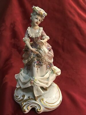$ CDN282.44 • Buy San Marco Capodimonte Figurine Porcelain Lace Italy Victorian Lady