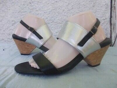 AU50 • Buy Ziera Black & Silver Genuine Leather Heeled Comfort Sandals-sz 40/9 Vgc