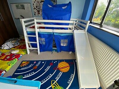 Kids Cabin Bunk Bed Mid Sleeper With Slide And Ladder • 95£