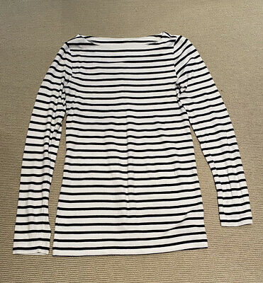 GAP, Maternity Long-sleeved T-shirt, White With Navy Stripes, Small • 2.99£