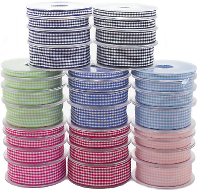 £4.71 • Buy Gingham Ribbon Reels Rolls Double Sided Face 20 Metre Check Full 6-25mm Craft