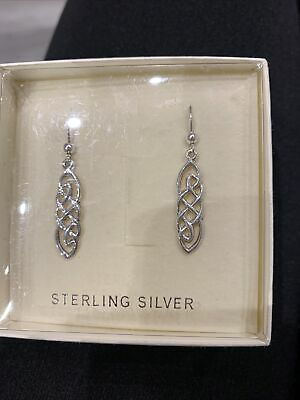 Past Times Sterling Silver Dangly Celtic Earrings. Boxed • 4.70£