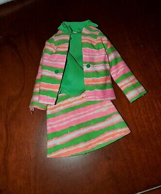 $ CDN5.18 • Buy Vintage Barbie Doll Outfit Striped Shirt , Skirt And Jacket Clothing