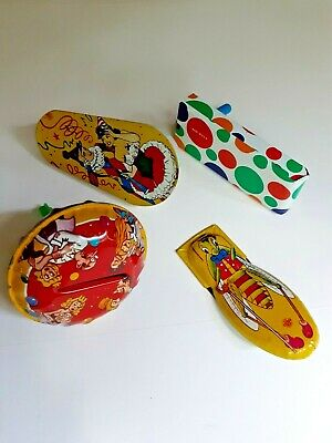$ CDN10.37 • Buy (4) Vintage Metal Noisemakers Made USA Clicker, 2 Spinners, 1 Rattle All Work