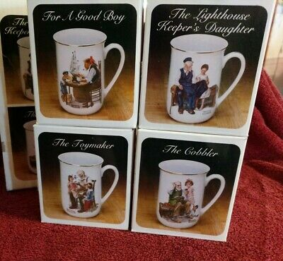 $ CDN12.98 • Buy Vintage Norman Rockwell Set Of 4 Museum Collection 1982 Coffee Mugs Cups NIB
