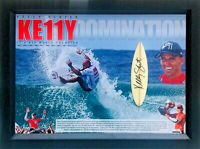 AU449 • Buy Kelly Slater Surfing Signed Mini Board Framed With Certificate Of Authenticity