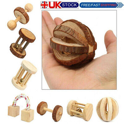 £4.15 • Buy 1pc Pet Toys Pine Unicycle Roller Chew Toy For Guinea Pigs Rat Rabbits Durable