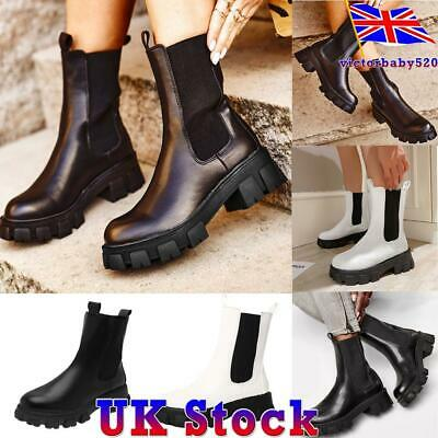 Womens Ladies Punk Chunky Platform Heel Chelsea Boots Stretch Pull On Shoes UK • 25.99£