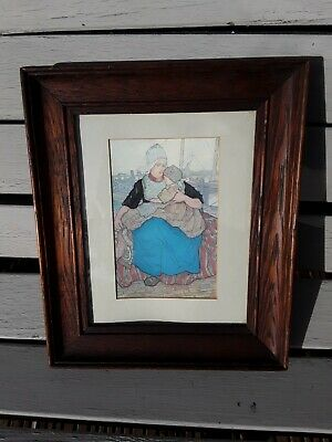 Antique Dutch Print Picture By Nico Jungman Mother And Child In Wooden Frame  • 15£
