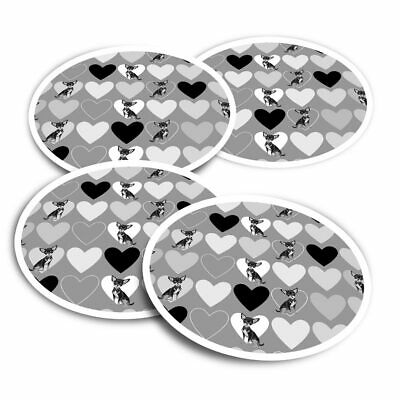 £3.99 • Buy 4x Round Stickers 10 Cm - BW - Love Hearts Chihuahua Animals Pets  #41421