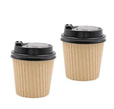 AU11.50 • Buy Coffee Cups 4oz Hot Drink Cup Takeaway Paper Ripple Wall Take Away With Lid