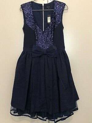 AU10 • Buy Asos River Island - Navy Dress With Sequins & Bow - Size 12