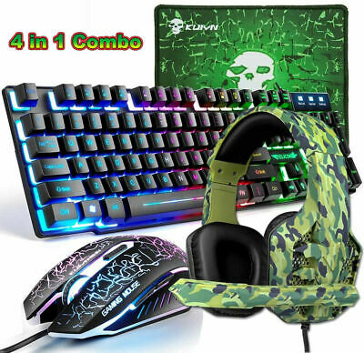 AU68.99 • Buy 4 In 1 Combo For PS4 Gaming Wired Rainbow Backlit Keyboard Mouse And RGB Headset