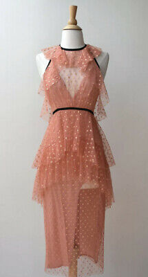 AU160 • Buy ALICE McCALL Gold Embroidered Apricot Mesh Midi Dress Size 10 (lc50)