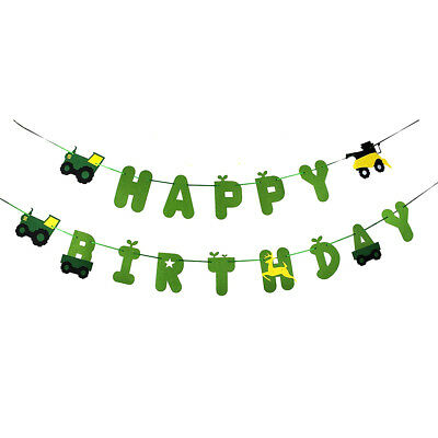 AU11.79 • Buy Green Tractor Happy Birthday Banner Garland For Construction Vehicle Party; WJ