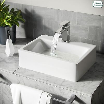 £35.99 • Buy Small 420mm Rounded Counter Top Basin Rectangle Cloakroom Bathroom Sink   Leven