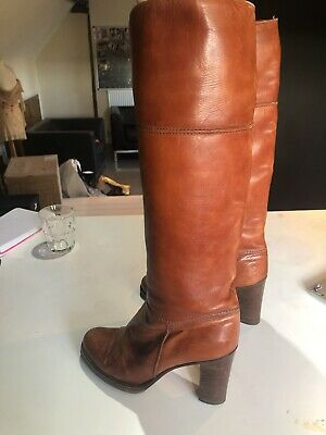 70's Tan Leather Boots  • 10£