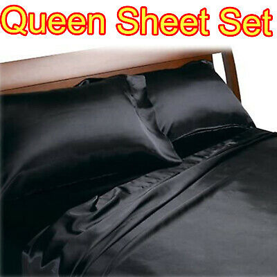 AU48.36 • Buy Black Queen Size Satin Sheets 4pc Set Silk Feel Bedding Luxury Bed Comfort New