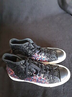 CONVERSE ALL STAR  Black With Multi/ Col., Sequins High Top Trainers UK 6 .5... • 12.99£
