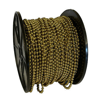 40 Metres 3mm BRASS PLATED BALL CHAIN Sink Plug Door Curtain Hanging Pictures  • 18.99£