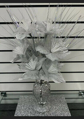 Stunning 30cm Silver Bling Romany Mirror Shine Vase With 6 Silver Flowers • 29.99£