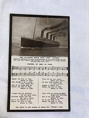 1912 Rms Titanic Ill Fated White Star Liner Real Photo Postcard With Hymn & Ship • 20.80£