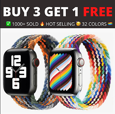 $ CDN7.47 • Buy Nylon Braided Solo Loop Strap For Apple Watch Series 6 SE 5 4 3 2 44/40/38/42 Mm