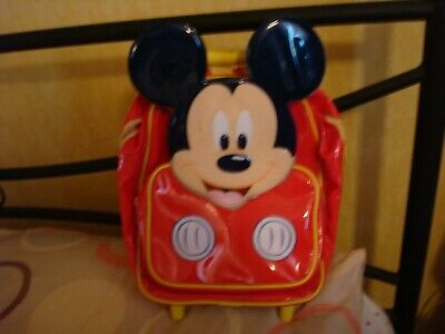 Disney Store Child's Mickey Mouse Pull Along Flight Bag Trolley Case Back Pack • 9.99£