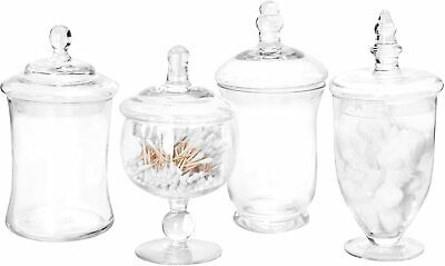 Set Of 4 Small Clear Glass Apothecary Jars/Candy Buffet Containers With Lids • 36.57£