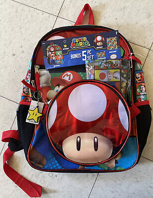 Super Mario Bros Boy's 5 PC Backpack Set 16  School Bag Toad Insulated Lunch Bag • 14.30£